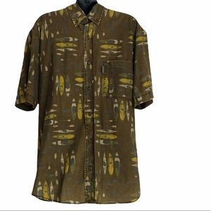 WOOLRICH short sleeve button down shirt for men with KAYAKS on it size medium